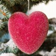 Red glass Christmas heart — Stock Photo