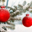 Stock Photo: Red Christmas baubles