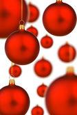 Spousta červené vánoční ozdoby — Stock fotografie