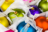 Boxed Christmas decorations baubles — Stock Photo