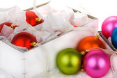Boxed Christmas bauble decorations — Stock Photo