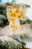 Christmas Angel on a snow encrusted tree — Stok fotoğraf