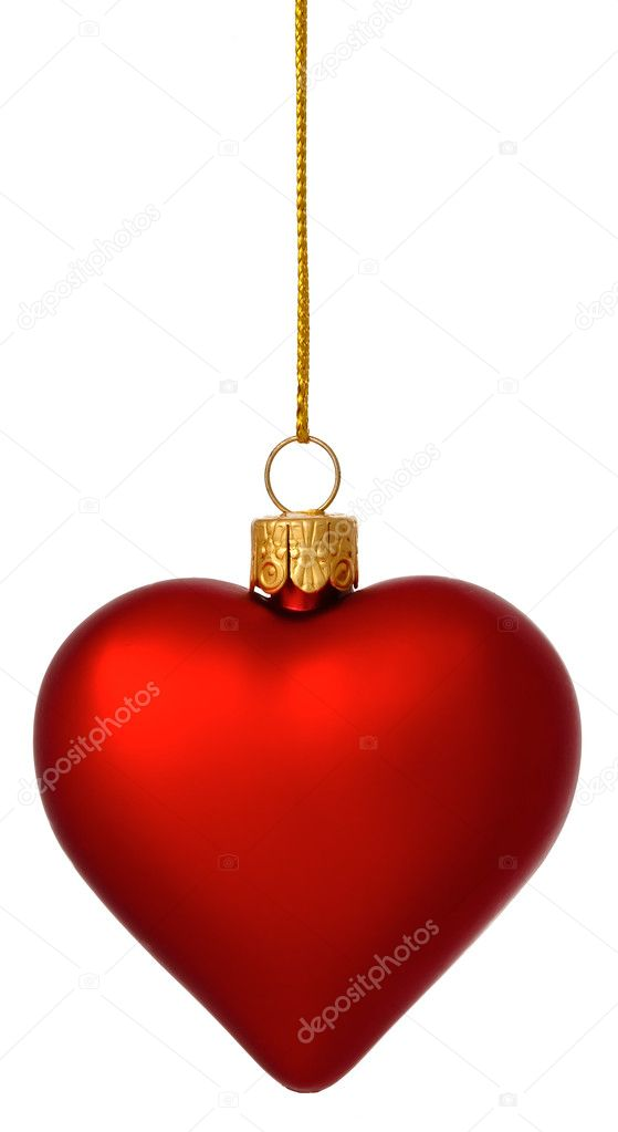 Hanging crimson Christmas Heart bauble on gold thread isolated on white — Stock Photo #2971928