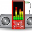 Music player with speakers - Stock Vector