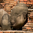 Stock Photo: Ajutthai ruins, the head of a Buddha