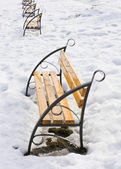 Light brown wooden benches on snow — Stock Photo
