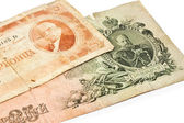 Old banknotes isolated on white — Stock Photo