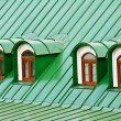 Roof dormers on the roof covered with green iron plates - Stockfoto