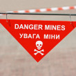 Warning sign on mined area — Stock Photo #3677773