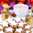 Christmas cookies & a cup of hot cocoa — Stock Photo