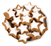 Plate of star shaped cookies — Stock Photo