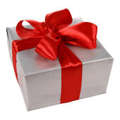 Gift in silver wrapping — Stock Photo