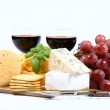 Cheese, wine and crackers — Stock Photo #3035812