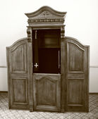 Wooden confessional — Stock Photo