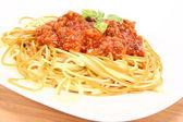Renkli spagetti bolonez — Stok fotoğraf