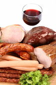 Selection of cold meat and wine — Stock Photo