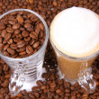 Stock Photo: Caffe latte and coffee beans