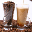 Stock Photo: Making of caffe latte and coffee beans