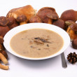Mushroom soup and mushrooms — Stock Photo