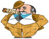 Важный толстый банкир стоит и курит сигару. — Stock Vector