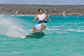 Kitesurf in the lagoon — Stock Photo