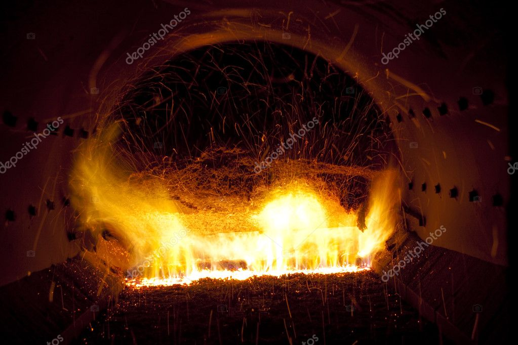 Close up colorful fire in industrial furnace - Polish power station. — Stock Photo #2942871
