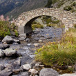 Stone bridge over river - Pyrenees - Stock Photo