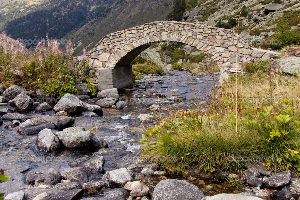 Stone bridge over beautiful river in summer - Pyrenees. Andorra. — Stock Photo #2969509