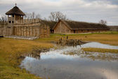 Alten historischen polnischen hütte - biskupin — Stockfoto
