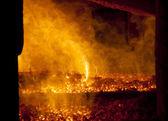 Fire in big furnace — Stock Photo