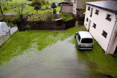Aerial view on flood — Stock Photo
