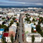 Aerial view from Hallgrimskirkja church - Iceland — Stock Photo