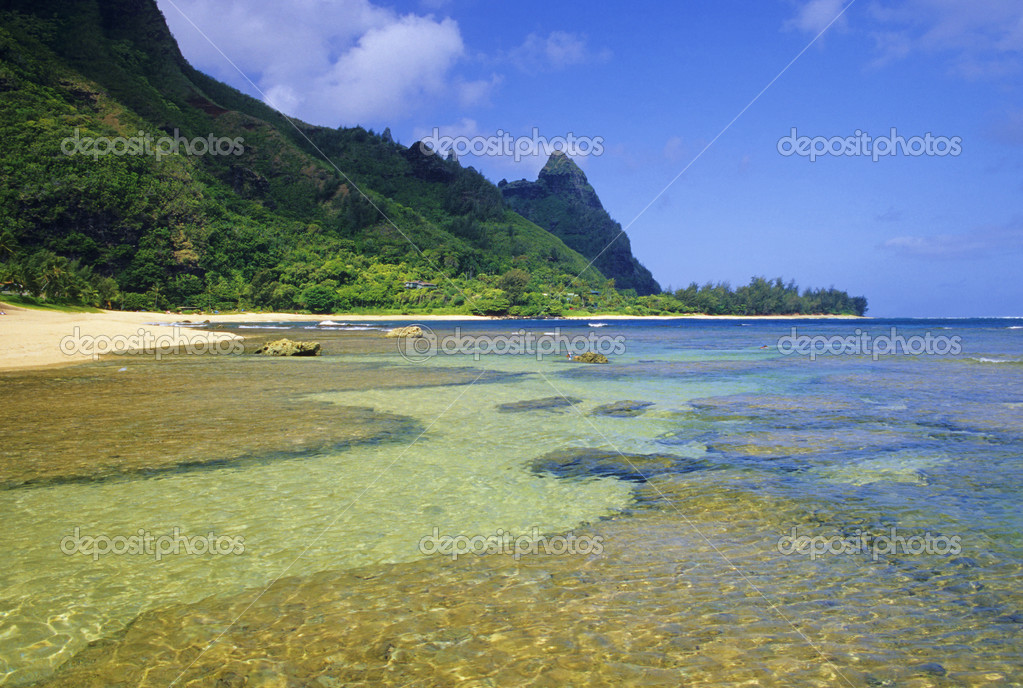 Tunnels Beach is one of the most popular diving locations in all of Hawaii. Located on the scenic north shore of Kauai. — Stock Photo #2894279