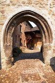 Detail of entrance into loket castl — Stock Photo
