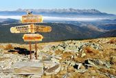 Guidepost in Tatra national park — 图库照片