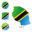 Royalty-Free Stock Vector Image: Tanzania in map and web buttons shapes