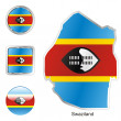 Royalty-Free Stock Vector Image: Swaziland in map and web buttons shapes