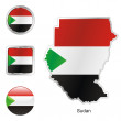 Sudan in map and web buttons shapes — Stock Vector