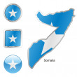 Somalia in map and web buttons shapes - Stock Vector