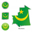 Mauritania in map and web buttons shapes — Stock Vector