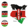 Kenya in map and web buttons shapes — Stock Vector