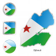 Djibouti in map and internet buttons sha — Stock Vector