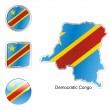 Democratic congo in map and buttons — Stock Vector