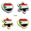 Sudan flag in heart and flower shape - 图库矢量图片