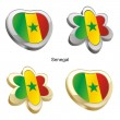Senegal flag in heart and flower shape — Stock Vector