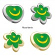Mauritania flag in heart and flower — Grafika wektorowa