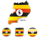 Uganda in map and internet buttons shape — Stock Vector
