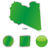 Libya in map and web buttons shapes — Stock Vector