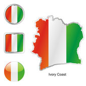 Ivory coast in map and web buttons — Stock Vector