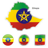 Ethiopia in map and web buttons — Stock Vector